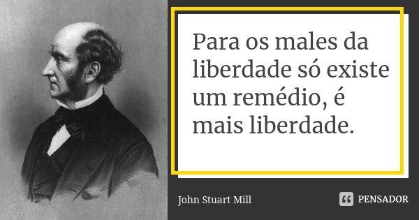 Para os males da liberdade só existe um remédio, é mais liberdade.... Frase de John Stuart Mill.