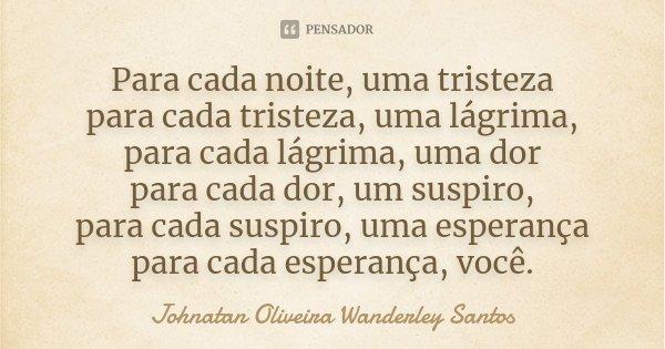 Para cada noite, uma tristeza para cada tristeza, uma lágrima, para cada lágrima, uma dor para cada dor, um suspiro, para cada suspiro, uma esperança para cada ... Frase de Johnatan Oliveira Wanderley Santos.