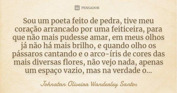 Sou um poeta feito de pedra, tive meu coração arrancado por uma feiticeira, para que não mais pudesse amar, em meus olhos já não há mais brilho, e quando olho o... Frase de Johnatan Oliveira Wanderley Santos.