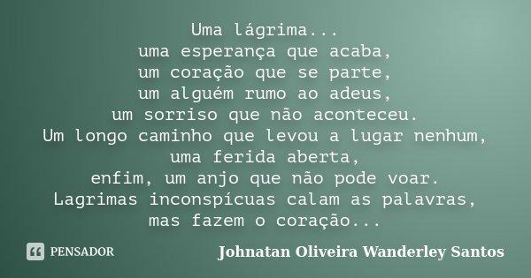 Uma lágrima... uma esperança que acaba, um coração que se parte, um alguém rumo ao adeus, um sorriso que não aconteceu. Um longo caminho que levou a lugar nenhu... Frase de Johnatan Oliveira Wanderley Santos.