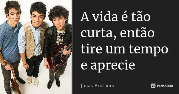 A vida é tão curta, então tire um tempo e aprecie... Frase de Jonas Brothers.
