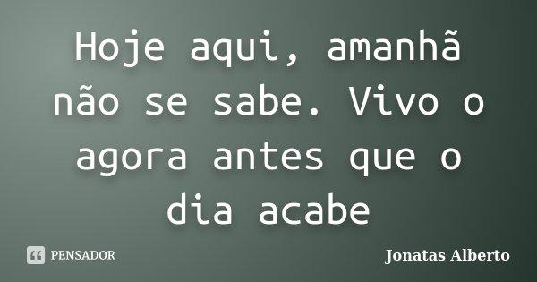 Hoje aqui, amanhã não se sabe. Vivo o agora antes que o dia acabe... Frase de Jônatas Alberto.