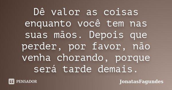 Dê valor as coisas enquanto você tem nas suas mãos. Depois que perder, por favor, não venha chorando, porque será tarde demais.... Frase de JonatasFagundes.