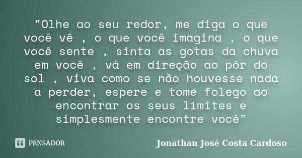 """""""Olhe ao seu redor, me diga o que você vê , o que você imagina , o que você sente , sinta as gotas da chuva em você , vá em direção ao pôr do sol , viva co... Frase de Jonathan José Costa Cardoso."""