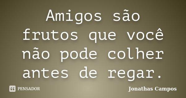 Amigos são frutos que você não pode colher antes de regar.... Frase de Jonathas Campos.