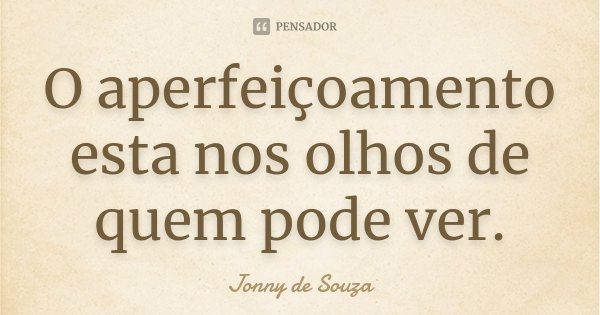 O aperfeiçoamento esta nos olhos de quem pode ver.... Frase de Jonny de Souza.