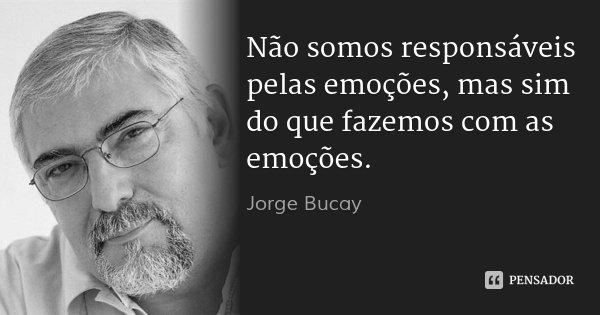 Não somos responsáveis pelas emoções, mas sim do que fazemos com as emoções.... Frase de Jorge Bucay.