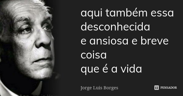 aqui também essa desconhecida e ansiosa e breve coisa que é a vida... Frase de Jorge Luis Borges.