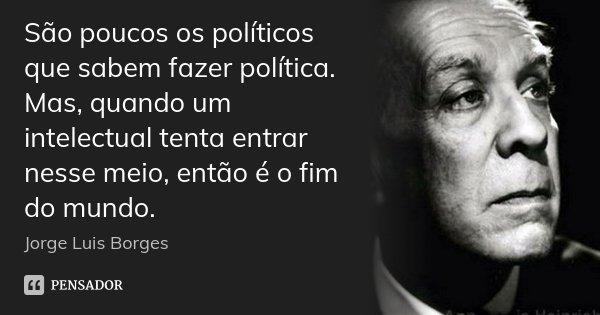 São poucos os políticos que sabem fazer política. Mas, quando um intelectual tenta entrar nesse meio, então é o fim do mundo.... Frase de Jorge Luis Borges.