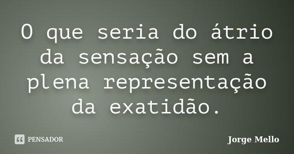 O que seria do átrio da sensação sem a plena representação da exatidão.... Frase de Jorge Mello.