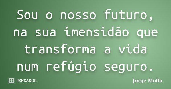 Sou o nosso futuro, na sua imensidão que transforma a vida num refúgio seguro.... Frase de Jorge Mello.