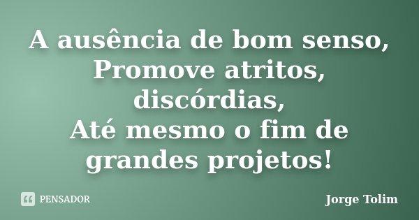 A ausência de bom senso, Promove atritos, discórdias, Até mesmo o fim de grandes projetos!... Frase de Jorge Tolim.