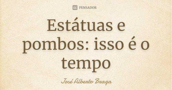 Estátuas e pombos: isso é o tempo... Frase de José Alberto Braga.