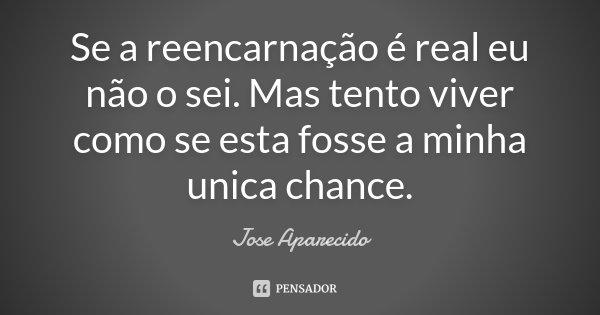 Se a reencarnação é real eu não o sei. Mas tento viver como se esta fosse a minha unica chance.... Frase de Jose Aparecido.