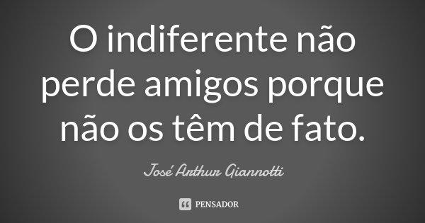 O indiferente não perde amigos porque não os têm de fato.... Frase de José Arthur Giannotti.