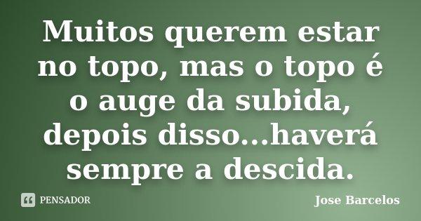 Muitos querem estar no topo, mas o topo é o auge da subida, depois disso...haverá sempre a descida.... Frase de Jose Barcelos.