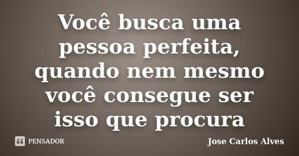 Você busca uma pessoa perfeita, quando nem mesmo você consegue ser isso que procura... Frase de Jose Carlos Alves.