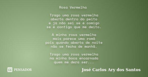 Rosa Vermelha Trago uma rosa vermelha aberta dentro do peito e já não sei se é comigo se é contigo que me deito. A minha rosa vermelha mais parece uma romã pois... Frase de José Carlos Ary dos Santos.