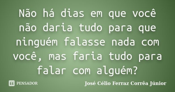 Não há dias em que você não daria tudo para que ninguém falasse nada com você, mas faria tudo para falar com alguém?... Frase de José Célio Ferraz Corrêa Júnior.