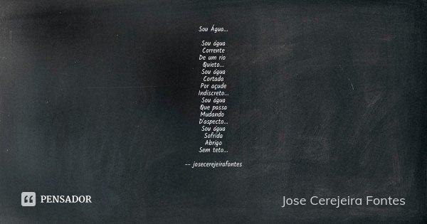 Sou Água... Sou água Corrente De um rio Quieto... Sou água Cortada Por açude Indiscreto... Sou água Que passa Mudando D'aspecto... Sou água Sofrida Abrigo Sem t... Frase de José Cerejeira Fontes.