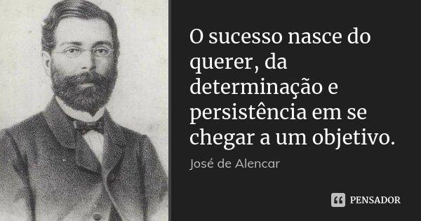 O sucesso nasce do querer, da determinação e persistência em se chegar a um objetivo.... Frase de José de Alencar.