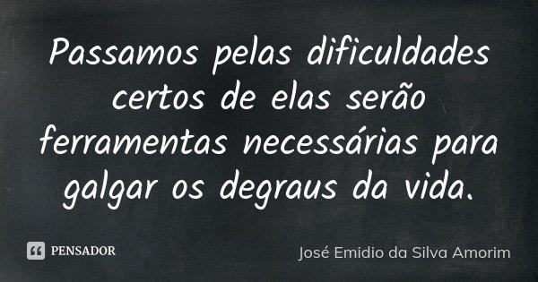 Passamos pelas dificuldades certos de elas serão ferramentas necessárias para galgar os degraus da vida.... Frase de José Emidio da Silva Amorim.
