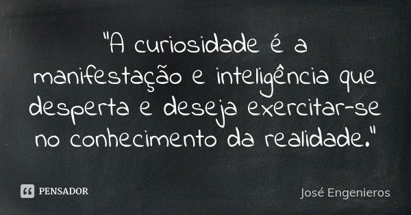 """""""A curiosidade é a manifestação e inteligência que desperta e deseja exercitar-se no conhecimento da realidade.""""... Frase de José Engenieros."""