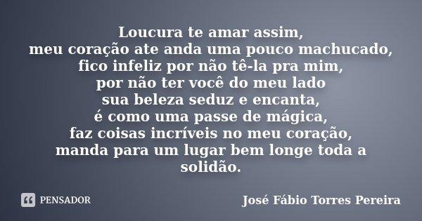Loucura te amar assim, meu coração ate anda uma pouco machucado, fico infeliz por não tê-la pra mim, por não ter você do meu lado sua beleza seduz e encanta, é ... Frase de José Fábio Torres Pereira.