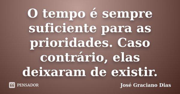 O tempo é sempre suficiente para as prioridades. Caso contrário, elas deixaram de existir.... Frase de José Graciano Dias.