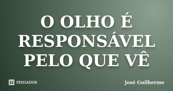 O OLHO É RESPONSÁVEL PELO QUE VÊ... Frase de José Guilherme.