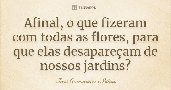Afinal, o que fizeram com todas as flores, para que elas desapareçam de nossos jardins?... Frase de José Guimarães e Silva.