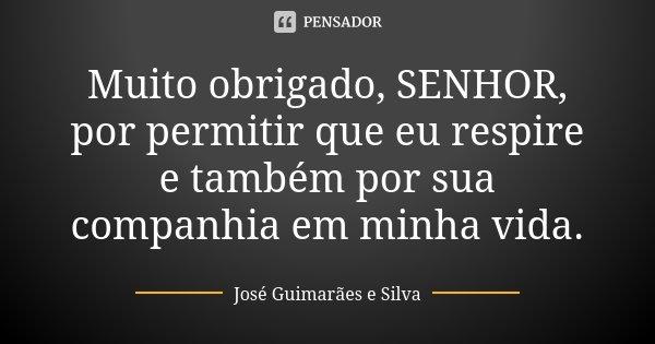 Muito obrigado, SENHOR, por permitir que eu respire e também por sua companhia em minha vida.... Frase de José Guimarães e Silva.