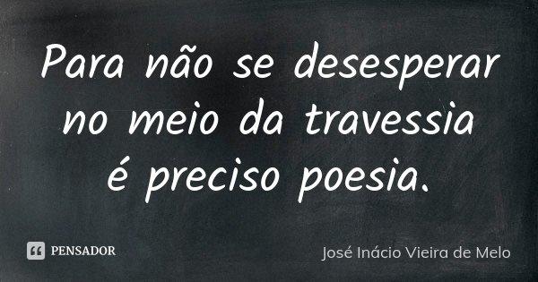 Para não se desesperar no meio da travessia é preciso poesia.... Frase de José Inácio Vieira de Melo.