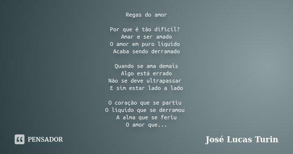 Regas Do Amor Por Que E Tao Dificil Jose Lucas Turin