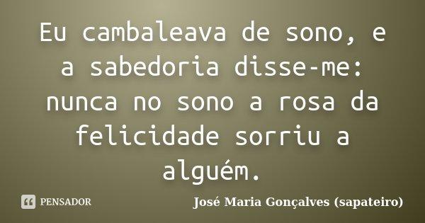 Eu cambaleava de sono, e a sabedoria disse-me: nunca no sono a rosa da felicidade sorriu a alguém.... Frase de José Maria Gonçalves (sapateiro).