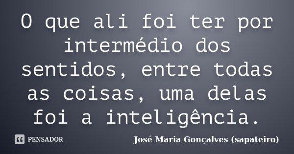 O que ali foi ter por intermédio dos sentidos, entre todas as coisas, uma delas foi a inteligência.... Frase de José Maria Gonçalves (sapateiro).