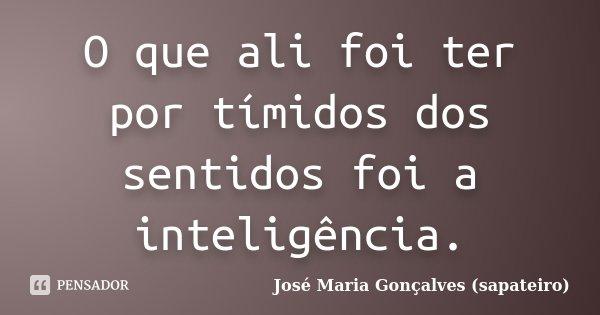 O que ali foi ter por tímidos dos sentidos foi a inteligência.... Frase de José Maria Gonçalves (sapateiro).