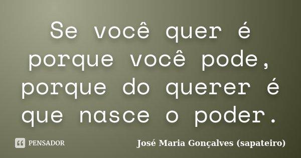 Se você quer é porque você pode, porque do querer é que nasce o poder.... Frase de José Maria Gonçalves (sapateiro).