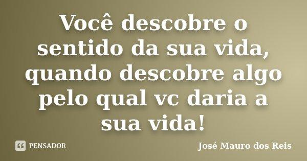 Você descobre o sentido da sua vida, quando descobre algo pelo qual vc daria a sua vida!... Frase de José Mauro dos Reis.