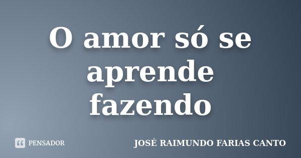 O amor só se aprende fazendo... Frase de JOSÉ RAIMUNDO FARIAS CANTO.
