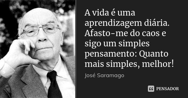 A vida é uma aprendizagem diária. Afasto-me do caos e sigo um simples pensamento: Quanto mais simples, melhor!... Frase de Jose Saramago.