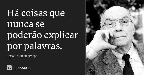 Há coisas que nunca se poderão explicar por palavras.... Frase de José Saramago.