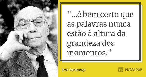 """""""...é bem certo que as palavras nunca estão à altura da grandeza dos momentos.""""... Frase de José Saramago."""