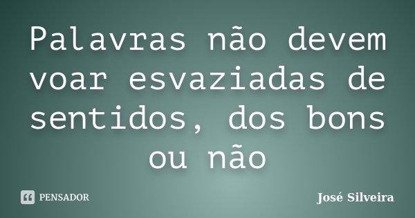 Palavras não devem voar esvaziadas de sentidos, dos bons ou não... Frase de José Silveira.