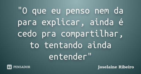"""""""O que eu penso nem da para explicar, ainda é cedo pra compartilhar, to tentando ainda entender""""... Frase de Joselaine Ribeiro."""