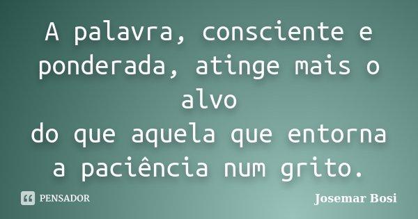 A palavra, consciente e ponderada, atinge mais o alvo do que aquela que entorna a paciência num grito.... Frase de Josemar Bosi.