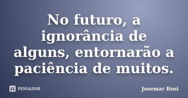 No futuro, a ignorância de alguns, entornarão a paciência de muitos.... Frase de Josemar Bosi.