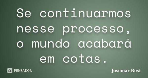 Se continuarmos nesse processo, o mundo acabará em cotas.... Frase de Josemar Bosi.