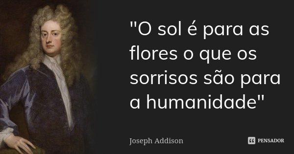 """""""O sol é para as flores o que os sorrisos são para a humanidade""""... Frase de Joseph Addison."""
