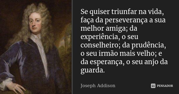 Se quiser triunfar na vida, faça da perseverança a sua melhor amiga; da experiência, o seu conselheiro; da prudência, o seu irmão mais velho; e da esperança; o ... Frase de Joseph Addison.